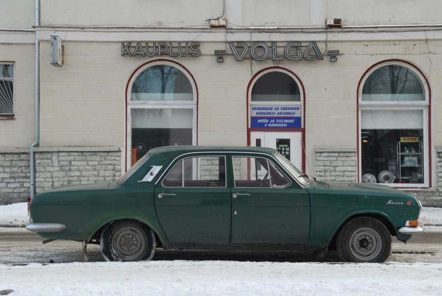 My Volga in front of the Volga store in Tallin, Estonia. Photo: Petter Lydén